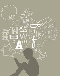 Immagine stilizzata di un bambino che legge