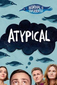 Foto dei protagonisti della serie Atypical su sfondo azzurro