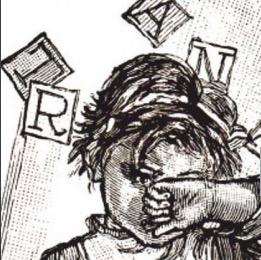 Disegno di bambino che si copre il volto e lettere sospese