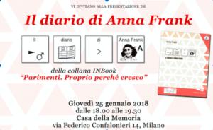 """Presentazione di """"Il diario di Anna Frank"""" della collana Inbook Parimenti proprio perché cresco – 25 gennaio, Milano"""