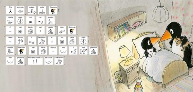Disegno di due pinguini e simboli della comunicazione aumentativa