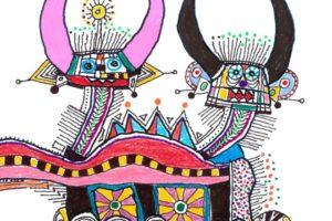 Disegno stilizzato e colorato di diavoli