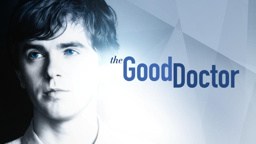 """Immagine di volto di ragazzo con gli occhi azzurri con scritta """"The good doctor"""""""