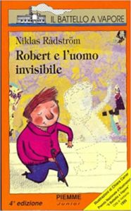 """Copertina di """"Robert e l'uomo invisibile"""" con disegno di bambino e disegno di bambino tratteggiato"""