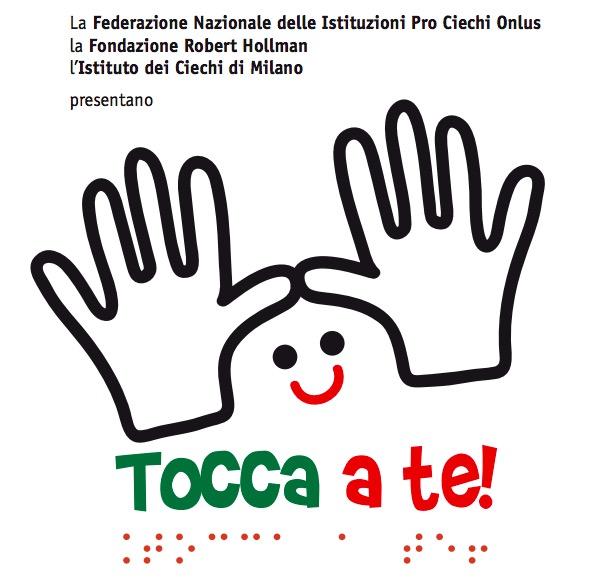 Logo di TOCCA A TE!: Mani stilizzate e disegno di faccia