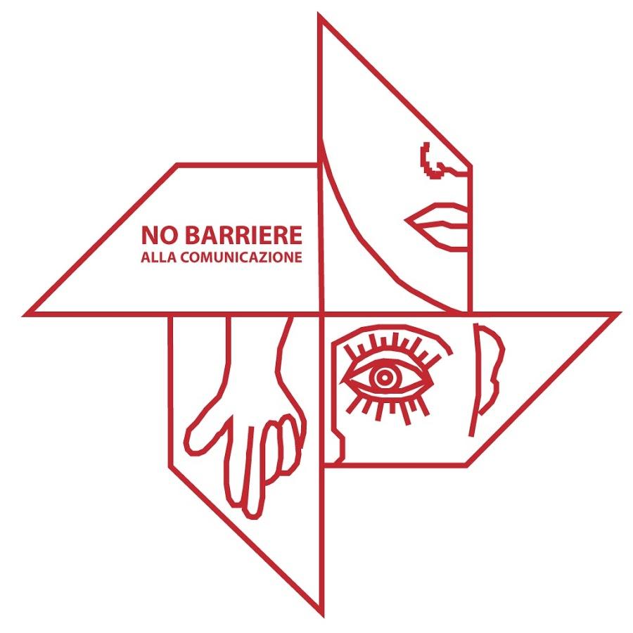 Simbolo di No barriere per la comunicazione: girandola con disegni di mano, bocca, occhi, orecchio
