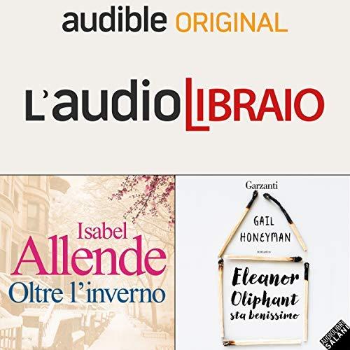 Copertine di due audiolibri e scritta L'Audiolibraio
