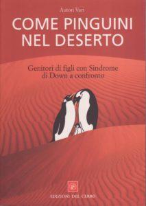 Disegno di tre pinguini in un deserto rosso