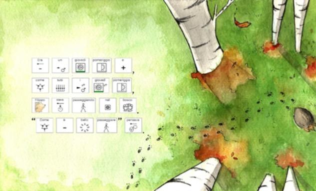 Immagine della locandina del Seminario Incontra gli Inbook: Disegno di Tronchi di alberi visti dall'alto. Parole scritte in CAA
