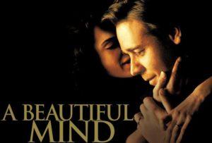 Locandina A beautiful mind. Donna che accarezza volto di un uomo