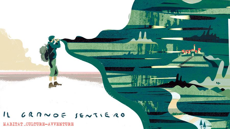 Disegno di alpinista che guarda paesaggio da un binocolo
