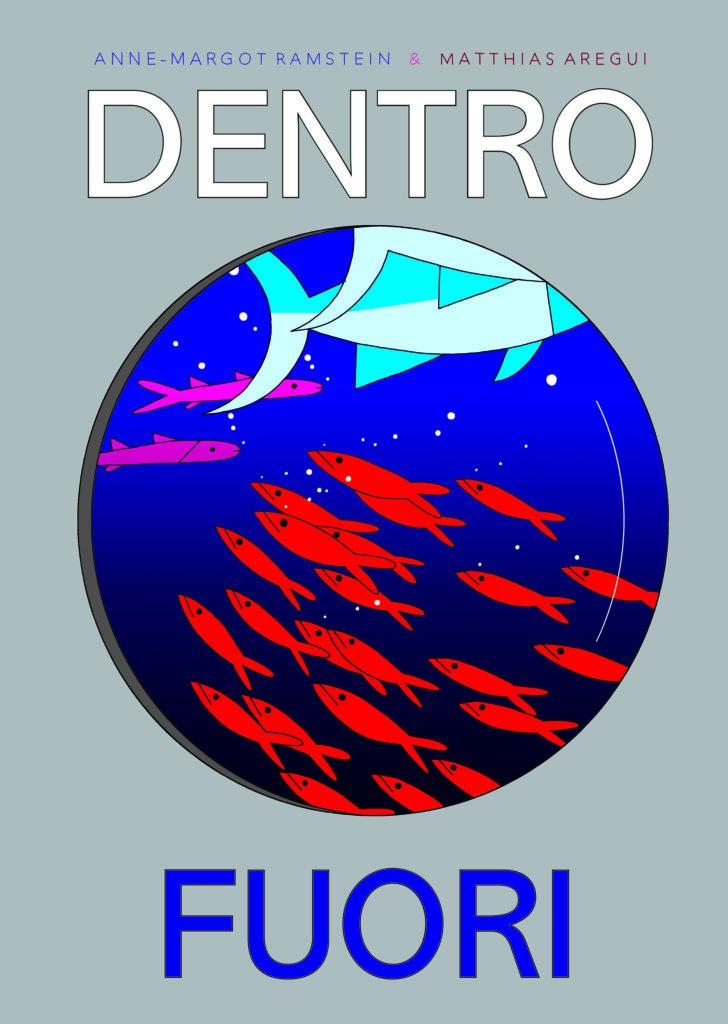 disegno di pesci rossi e pesce azzurro su sfondo blu