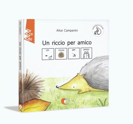 Copertina del libro Un riccio per amico. Disegno di un riccio e di un sasso