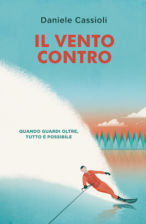 Copertina del libro Il vento contro: Disegno di sportivo che pratica sci nautico