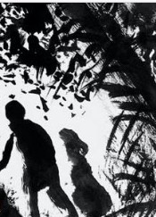 Profilo di Hansel e Gretel tra rami scuri