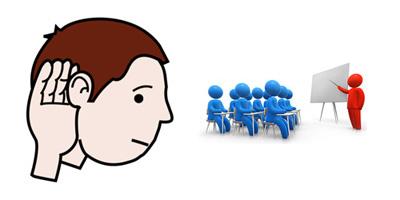 Disegno di persona che ascolta e disegno di aula di una conferenza