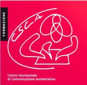 Simbolo del Centro Sovrazonale di Comunicazione Aumentativa: forme che rappresentano un adulto e un bambino che leggono