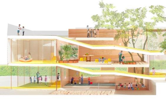 Immagine del progetto del Padiglione infanzia: edificio con rampe e alberi