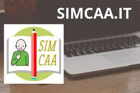 Simbolo SimCAA: libro con disegno bambino e matita. Foto di Computer sullo sfondo
