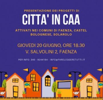 Locandina di Città in CAA: Disegno di città su sfondo blu