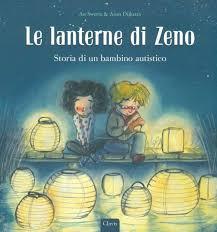 Disegno di un bambino e una bambina circondati da lanterne