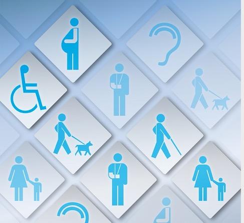 Simboli azzurri accessibilità: sedia a ruote, donna incinta ecc