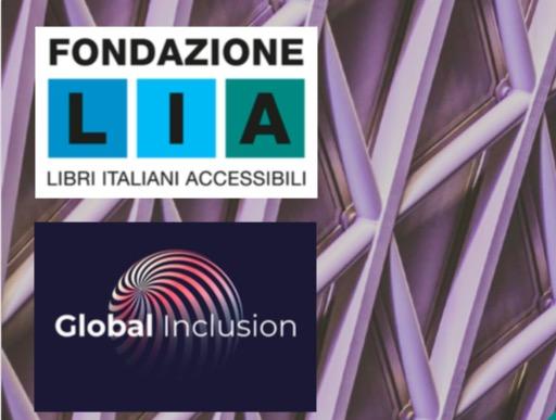 Simboli di fondazione LIA e global inclusion su sfondo a quadri viola