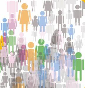 sagome colorate di uomini e donne