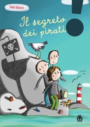 Disegno di bambini su uno scoglio. Ombra di una nave dei pirati
