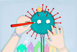 Mani che disegnano un virus verde