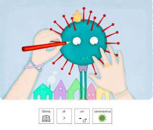 Mani che disegnano un virus verde. Scrittura in simboli di Storia di un Coronavirus